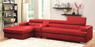 Red Sofa Set Furniture Contemporary Red Vinyl Chaise Sofa With Tufted Seat