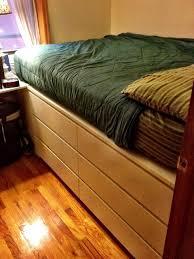 Ikea Hacks Platform Bed Ikea Hackers Use Malm 6 Drawer Dresser As Bed Frame For Storage