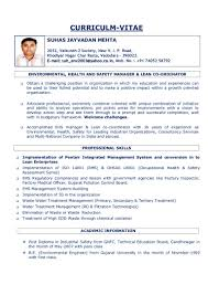Sample Resume For Environmental Engineer by Ehs Resume Sample Resume For Your Job Application