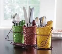 country fall harvest ceramic kitchen utensil holder metal caddy