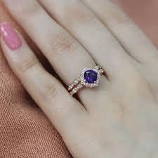 rose gold wedding set amethyst vintage floral engagement rings and bridal sets by la more design
