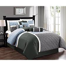 Charcoal Grey Comforter Set Amazon Com Chezmoi Collection 7 Piece Embroidered Floral Bed In A