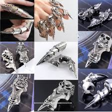 cool finger rings images Men 39 s spike armor knuckle joint full punk gothic finger cool ring jpg