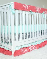 ocean baby crib bedding coral mint gray baby bedding set