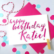 personalised name calligraphy birthday card by ruby wren designs