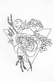 sketch of a bouquet of roses with patterns on a white background