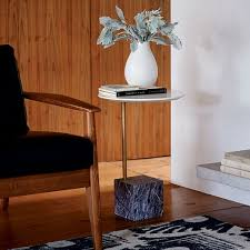 Cube Side Table Cube C Side Table White Gray Marble West Elm