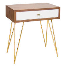 White Lacquer Sofa Table by Worlds Away Walnut Veneer U0026 White Lacquer Side Table Or Nightstand