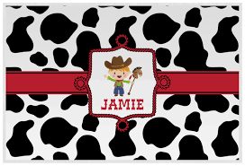 cowprint w cowboy placemat laminated personalized youcustomizeit