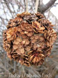 today u0027s fabulous finds handmade pine cone flower ornaments
