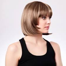woman with short hair 24cm women sexy chemical fiber neat bangs short hair wig brown