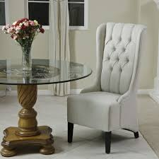 decor white beige tufted dining chair with black wood legs for