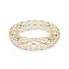 3d printed gold jewellery the grid bangle slim 14k gold sterling 3d printed