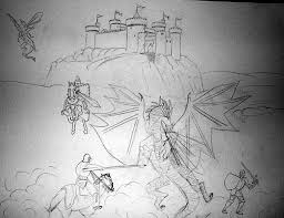 all kids murals castle knight dragon sketch for mural