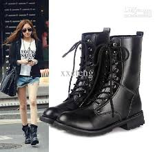 womens boots in fashion autumn pu boots s fashion locomotive boots black lacing