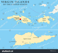 Us Virgin Island Flag Us Virgin Islands Vector Map Stock Vector Map Of The Districts And