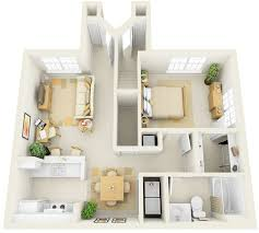 Apartment House Plans by 1 Bedroom Flat