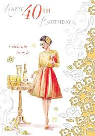 age 40 female birthday card woman in orange dress u0026 table with