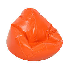 furniture bean bag chair with vinyl cover and orange color