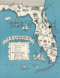 Florida Map Image by Florida Vintage Map Map Art High Res Digital Download