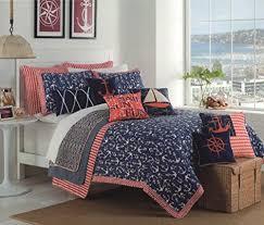 Navy Blue Coverlet Queen Max Studio Anchor Nautical Design Bedspread Full Queen Quilt