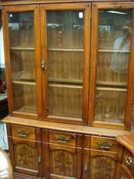 antique tiger oak bowed glass curio china cabinet c oak china