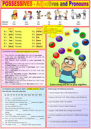possessive adjectives and pronouns interactive and downloadable