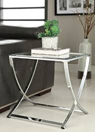 Chrome And Glass Sofa Table Amazon Com Chrome Metal Glass Accent Console Sofa Table With