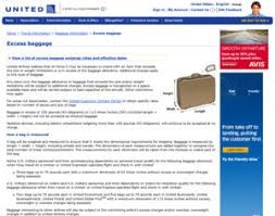 united excess baggage fees united airlines excess baggage information united airlines