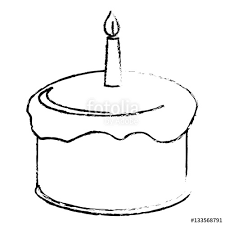 birthday cake icon image sketch line vector illustration design