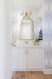 Wallpaper Powder Powder Room Moroccan Mirror Brass Wallpaper Grey And White