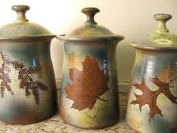 pottery kitchen canister sets canister set lidded jars kitchen canisters with tree leaves in