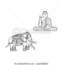vector of vector sketch buddha statue decorated elephant vector