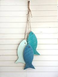 whimsical wall decor painted string of wooden fish wall decor made