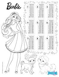 multiplication table barbie coloring pages hellokids com