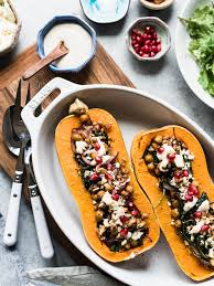 stuffed butternut squash with farro chickpeas and kale kitchen