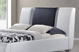 Double King Size Bed Sorrento Designer Chrome White Black Faux Leather Bed Double King