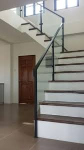 10mm clear tempered glass stair railing with brushed nickel clamps