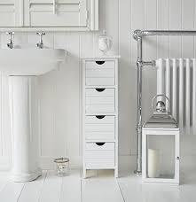 White Bathroom Storage Drawers Dorset 25cm Narrow White Bathroom Storage Furnitue With 4 Drawers