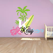 Baby Name Wall Decals For Nursery by Aliexpress Com Buy Surfboard With Name Wall Decal Baby Palm Tree