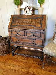 Antique Desk Secretary by Antique Barley Twist Jacobean Desk Secretary Drop Front Oak Bureau