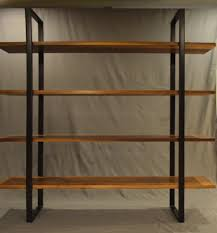 floating walnut and steel bookcase modern bookcases steel