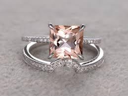 princess cut wedding set 2 7 carat princess cut morganite wedding set diamond bridal ring