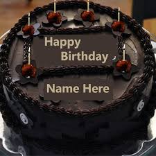 name on chocolate happy birthday cake with candle