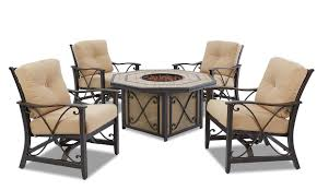 Fire Patio Table by Solaris 6 Pc Patio Dining Set With Outdoor Fire Pit Table Haynes