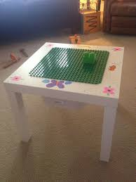 ikea hack lack table with lego duplo board glued to top painted
