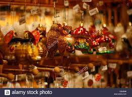 various tree ornaments displayed for sale at the