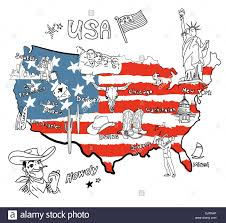 Map Of Usa Regions by Stylized Map Of America Things That Different Regions In Usa Are