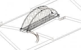 nest bridge 3d design and elevation dwg file