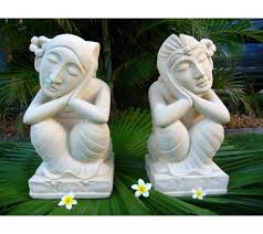 tropical living garden balinese statue carved